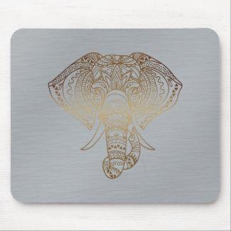 Cadeau tribal de bureau d'éléphant d'argent floral tapis de souris