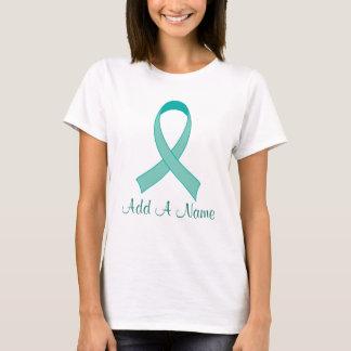 Cadeau turquoise personnalisé de T-shirt de ruban