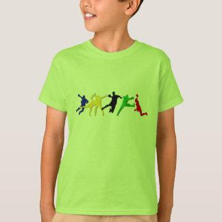 Cadeau vert de T-shirt de handball d'enfants