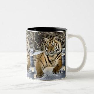 Cadeaux d'art d'amants de tigre mug bicolore