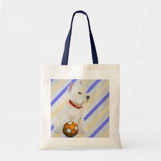 Cadeaux d'art de chien et de boule de Westie Sac En Toile Budget