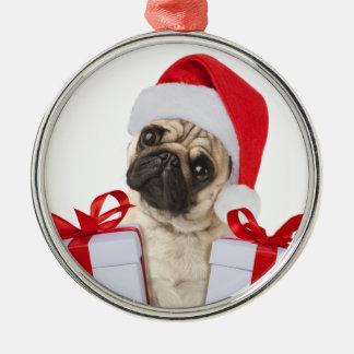 Cadeaux de carlin - chien Claus - carlins drôles - Ornement Rond Argenté