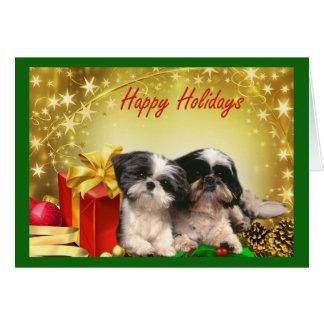 Cadeaux de carte de Noël de Shih Tzu