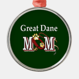 Cadeaux de maman de great dane ornement rond argenté