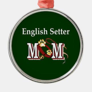 Cadeaux de maman de poseur anglais ornement rond argenté