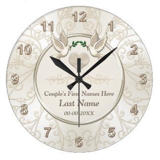 Cadeaux de mariage élégants personnalisés pour des grande horloge ronde