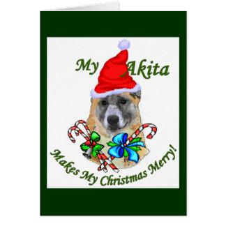 Cadeaux de Noël d'Akita Carte De Vœux
