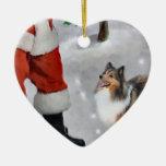 Cadeaux de Noël de Sheltie de chien de berger de S Décoration De Noël