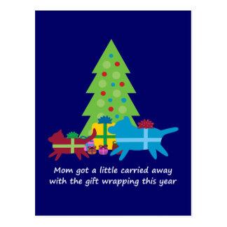Cadeaux de Noël drôles de chien et de chat Carte Postale