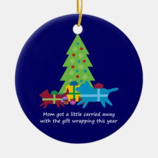 Cadeaux de Noël drôles de chien et de chat Ornement Rond En Céramique