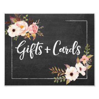Cadeaux et signe floral rustique de mariage de impression photo