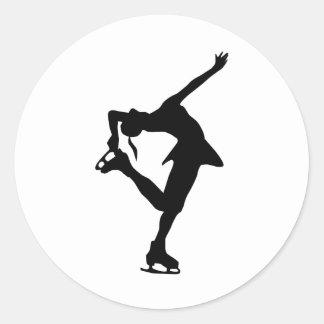 Cadeaux faits sur commande de patineur artistique autocollants ronds