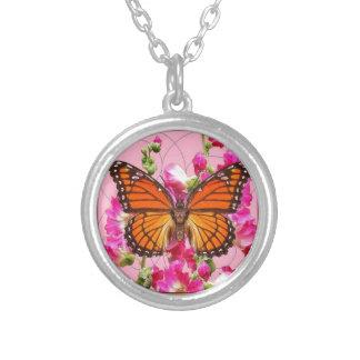 Cadeaux floraux Rose-Gris Sharles de papillon de Pendentif Rond