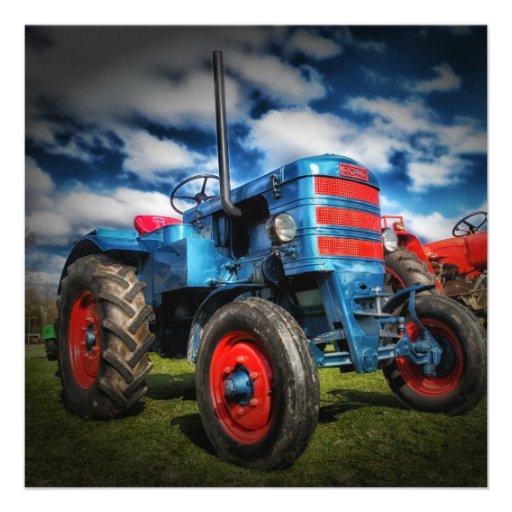 Cadeaux frais de tracteur d'antiquité de rouge invitation personnalisée