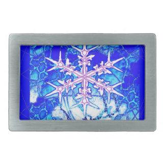 Cadeaux glacials bleus congelés de flocon de neige boucle de ceinture rectangulaire