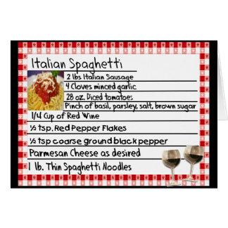"Cadeaux italiens ""spaghetti "" de carte de recette"