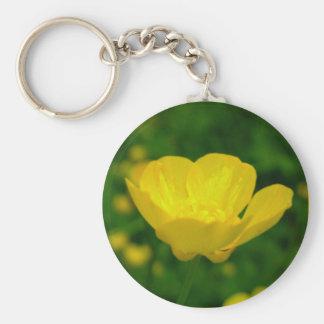 Cadeaux jaunes de fleur sauvage de porte - clés de porte-clé rond