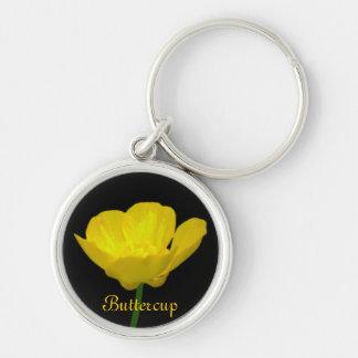 Cadeaux jaunes de fleur sauvage de porte - clés de porte-clé rond argenté