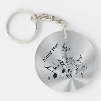 Cadeaux personnalisés de note de musique avec porte-clé rond en acrylique double face