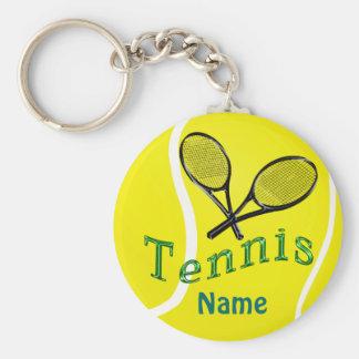 Cadeaux personnalisés d'équipe de tennis de porte porte-clé rond
