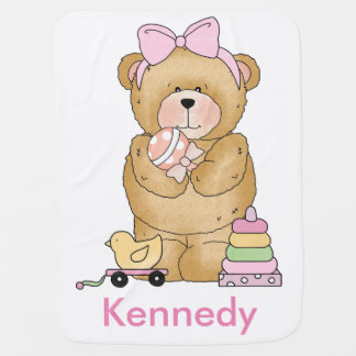 Cadeaux personnalisés d'ours de nounours de couverture de bébé