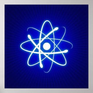 Cadeaux rougeoyants bleus frais de geek de l'atome affiches