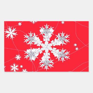 Cadeaux rouges de dérive de flocons de neige par autocollants rectangulaires