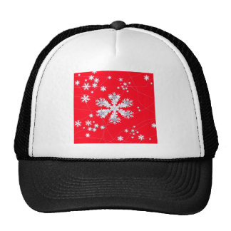 Cadeaux rouges de dérive de flocons de neige par casquettes de camionneur