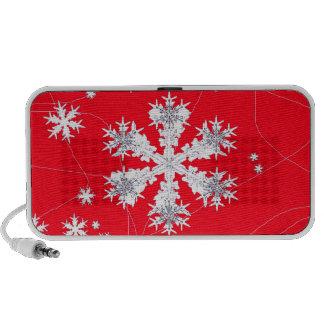 Cadeaux rouges de dérive de flocons de neige par haut-parleurs ordinateur portable