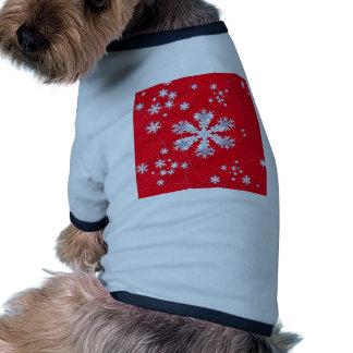 Cadeaux rouges de dérive de flocons de neige par t-shirt ringer pour chien