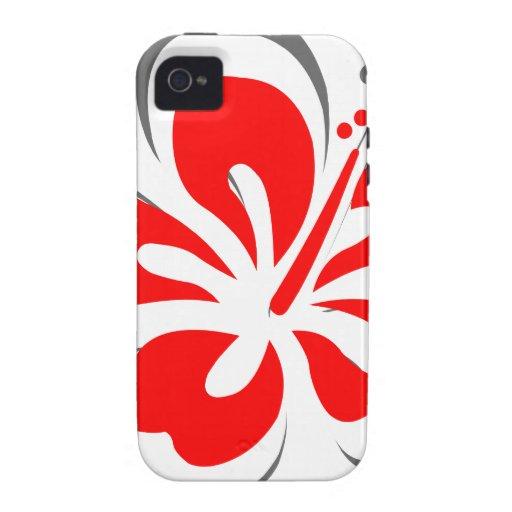 Cadeaux rouges de thème d'Hawaï de ketmie iPhone 4 Case