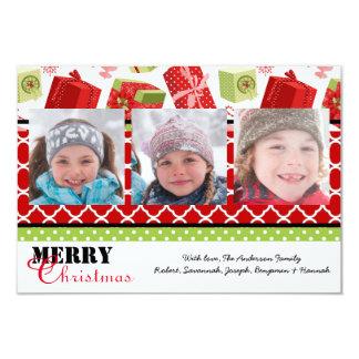 Cadeaux rouges et verts 3 photos - carte de Noël Carton D'invitation 8,89 Cm X 12,70 Cm