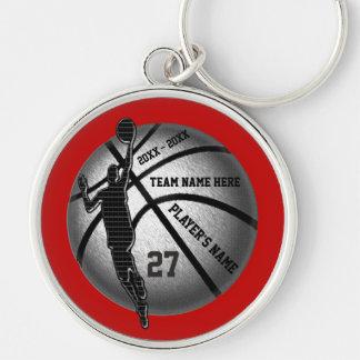 Cadeaux supérieurs de basket-ball personnalisés, porte-clé rond argenté