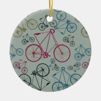 Cadeaux vintages de motif de bicyclette pour des ornement rond en céramique