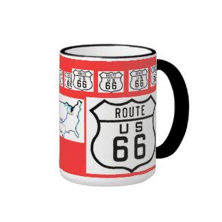 Cadeaux vintages de signe de l'itinéraire 66 mug ringer
