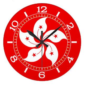 Cadran blanc de symbole d'orchidée de Hong Kong Grande Horloge Ronde