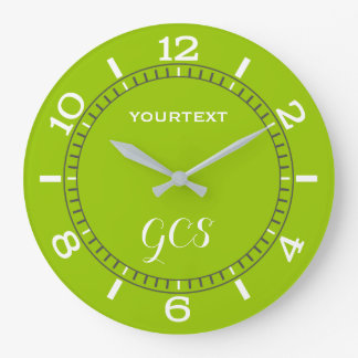 Cadran de décor de vert de chaux facilement grande horloge ronde