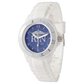 Cadran de monogramme de bleu marine de RN Montres Bracelet