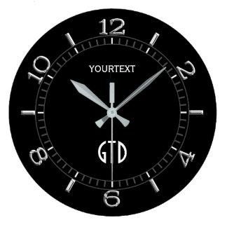 Cadran noir solide de décor facilement grande horloge ronde