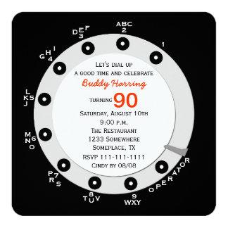 Cadran rotatoire de rétro quatre-vingt-dixième carton d'invitation  13,33 cm