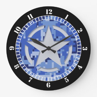 Cadran vintage de bleu marine de pochoir d'étoile grande horloge ronde