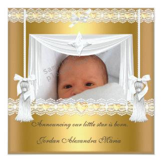 Cadre blanc de photo d'étoile d'or de faire-part