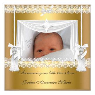 Cadre blanc de photo d'étoile d'or de faire-part d
