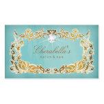 Cadre bleu floral d'or de carte de visite de bijou