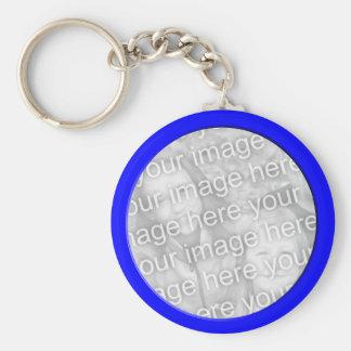 cadre bleu lumineux de photo porte-clé rond