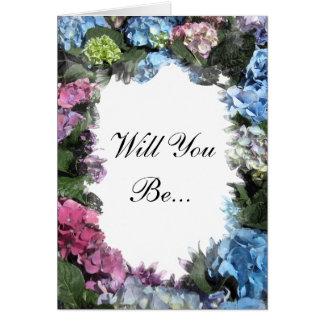 Cadre de fleur d'hortensia vous serez ma carte de vœux