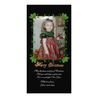 Cadre de houx de carte photo de Noël sur le noir Carte Avec Photo
