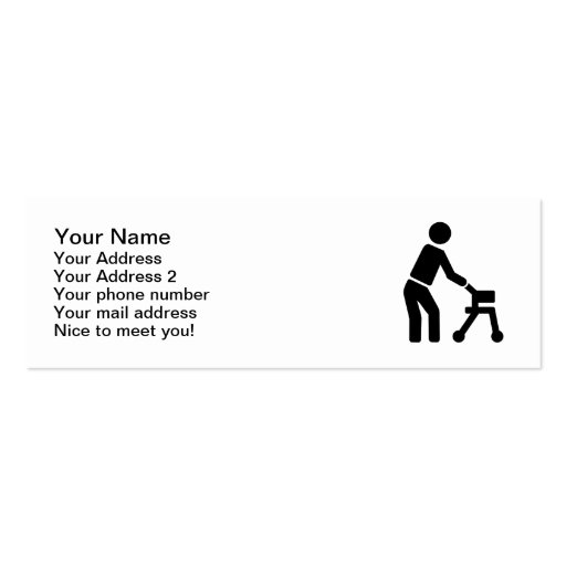 Cadre de marche d'homme de personne âgée cartes de visite professionnelles