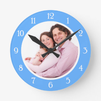 Cadre de photo de bleus layette horloge ronde