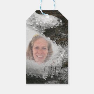 Cadre de photo de glaçons de rivière étiquettes-cadeau